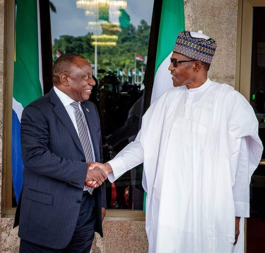 Cyril Ramaphosa of South Africa And Muhammadu Buhari of Nigeria shaking Hands